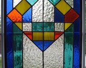 Classic geometrical stained glass panel - StainedGlassYourWay