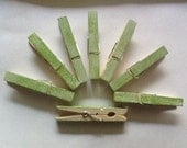 Decorative clothespin- 20 count. Hand Painted Green and Ivory,escort card holder, rustic, wedding favor, party favor, shower favor - SmilingGreenAppleShp