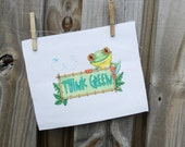 Green Recycle Frog cross stitch by All that is Counted on Upcycle Fever