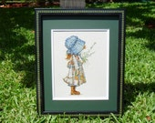 Vintage Holly Hobbie counted cross stitch framed home decor by All that is Counted on Upcycle Fever
