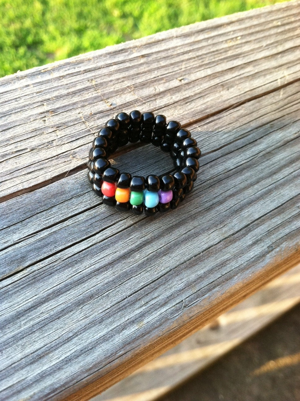 Rainbow/gay pride square stitch ring. From ImperfectArts
