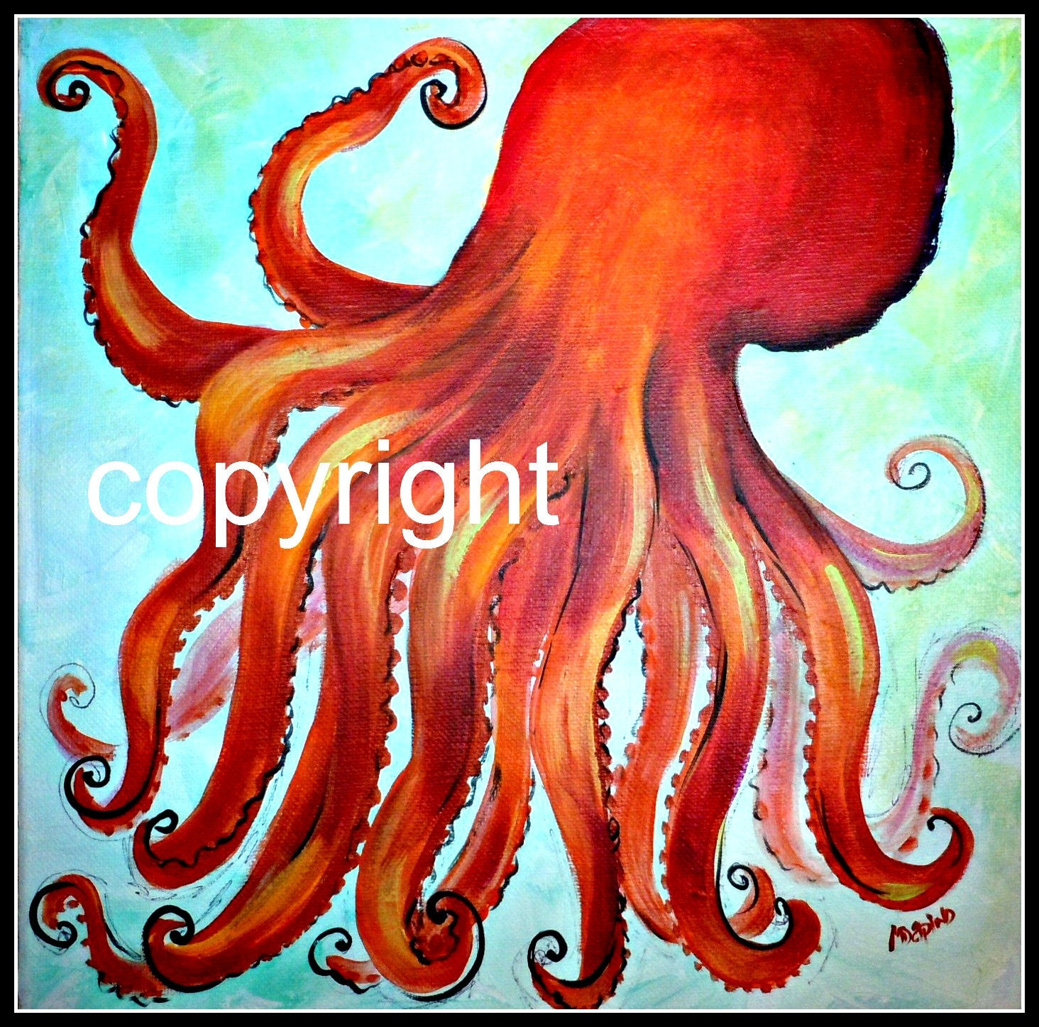 octopus jellyfish nautical ocean sea beach blue crab by AdoraArt