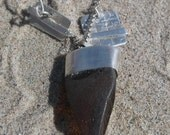 3-Charm Silver and Brown Sea Glass Necklace