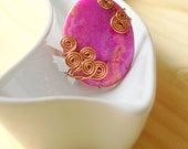 Pink Jasper Ring Copper Wire Wrapped Size 9 - stoneandbone