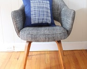 16 in Square Throw Pillow - Navy Blue with Modern Grid print in white ink - wickedmint