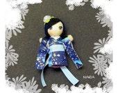 Blue Rose Chibi Kimono Doll