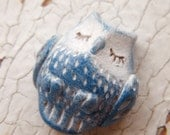 Little Blue Owl bead - Sleepy Woodland Critters (ready to ship) - TreeWingsStudio