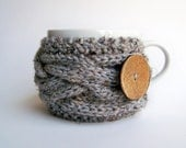 Grey Coffee Cozy - Cup Cozy - Gray Marble Winter Wood Woodland Forest Storm Rain Cloud Stone - natalya1905