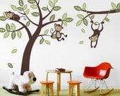 3 Monkey Tree and Branch Vine- Baby Nursery Vinyl Wall Decals