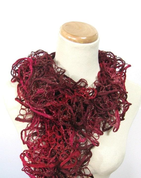 Hand Knit  Scarf  Ruffle Scarf - Raspberry Wine - Pink Burgundy