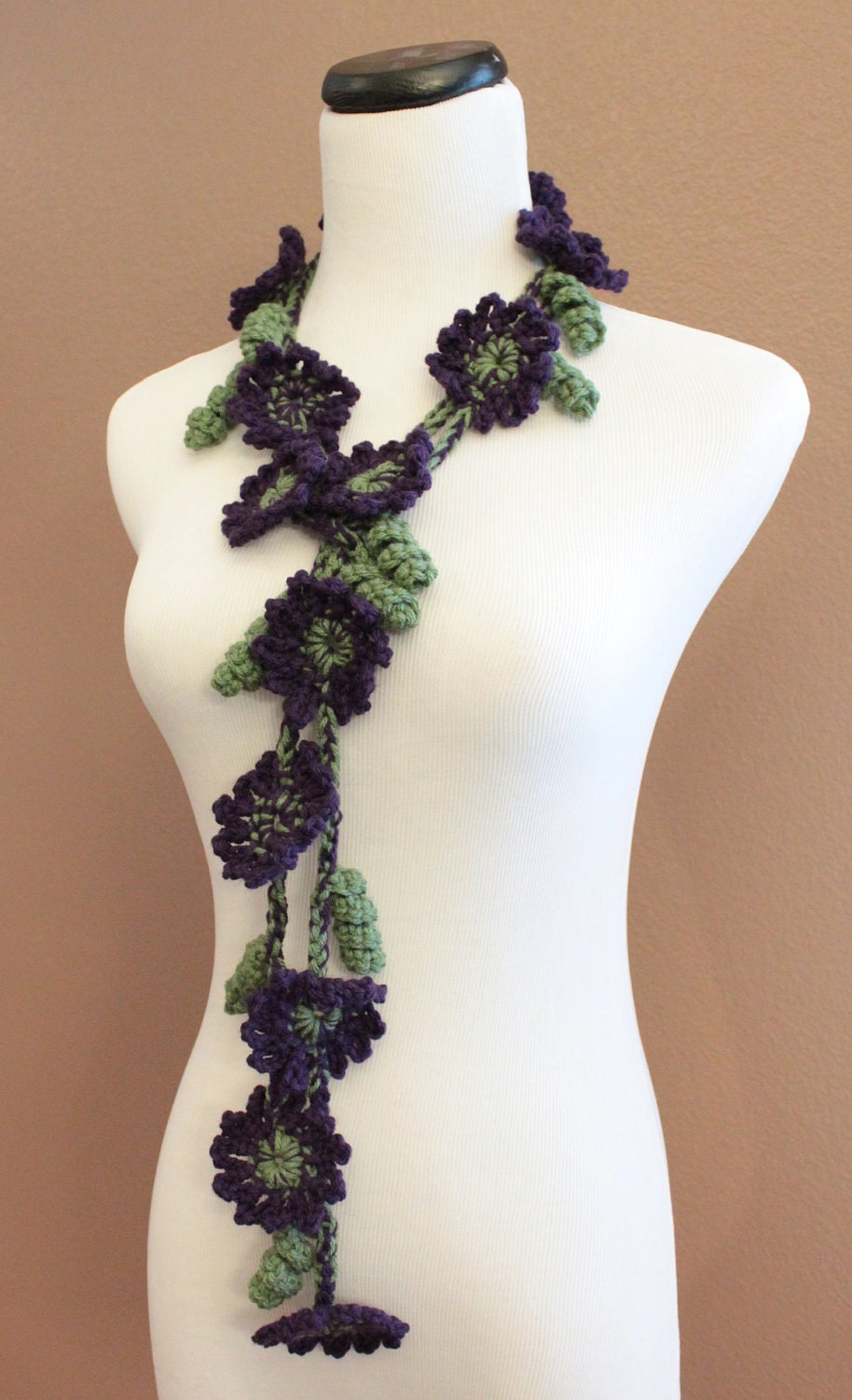 Crochet Scarf Flower Scarf Flower Lariat Purple and Green Scarf  Crochet Flower Scarves
