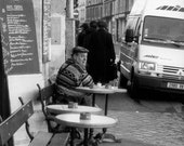 Paris street bistro photography, 5x7 print, lunch time, french, France, black, white, street view, coffee, cafe, urban life, vintage - bialakura
