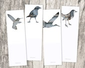 bird silhouette bookmark set, collage photography, set of 4, library, book lover, animal art, rustic, shabby, gray, blue, pastels, bookmarks - bialakura