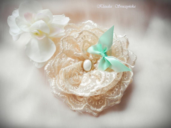 Lace Rosette Hair Clip Brooch with satin butterfly and pearl center Bridesmaid gifts Bridesmaid flowers