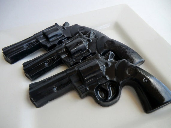 3 Police Gun Soap - valentines gift for man, pistol soap