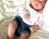 NEWBORN Wool Soaker, Diaper Cover, Hand Knit, Aqua Blue, Purple, Pink, Green, Girl, Small, by Bright Rose Creations