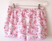 Floral Sleep Shorts. Size Large. Pink Flowers. Birdy. Soft Pink Lace - PeriDotbyDuni