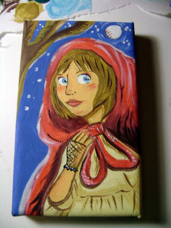 Original Little Red Riding Hood Painting - small original gouache painting - 3 X 5