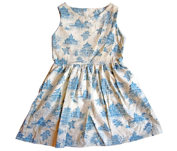 chinoiserie toile fit & flare pleated dress with pockets