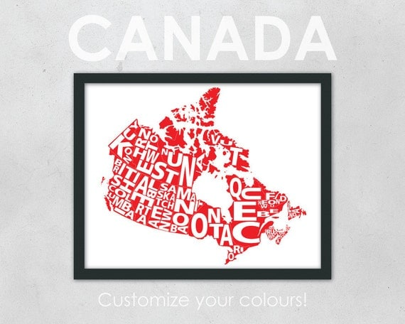 "Typography Map of Canada - 11 x 14"" Print"