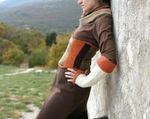 Underbust steampunk corset - Orange brown corset belt - Nomadum