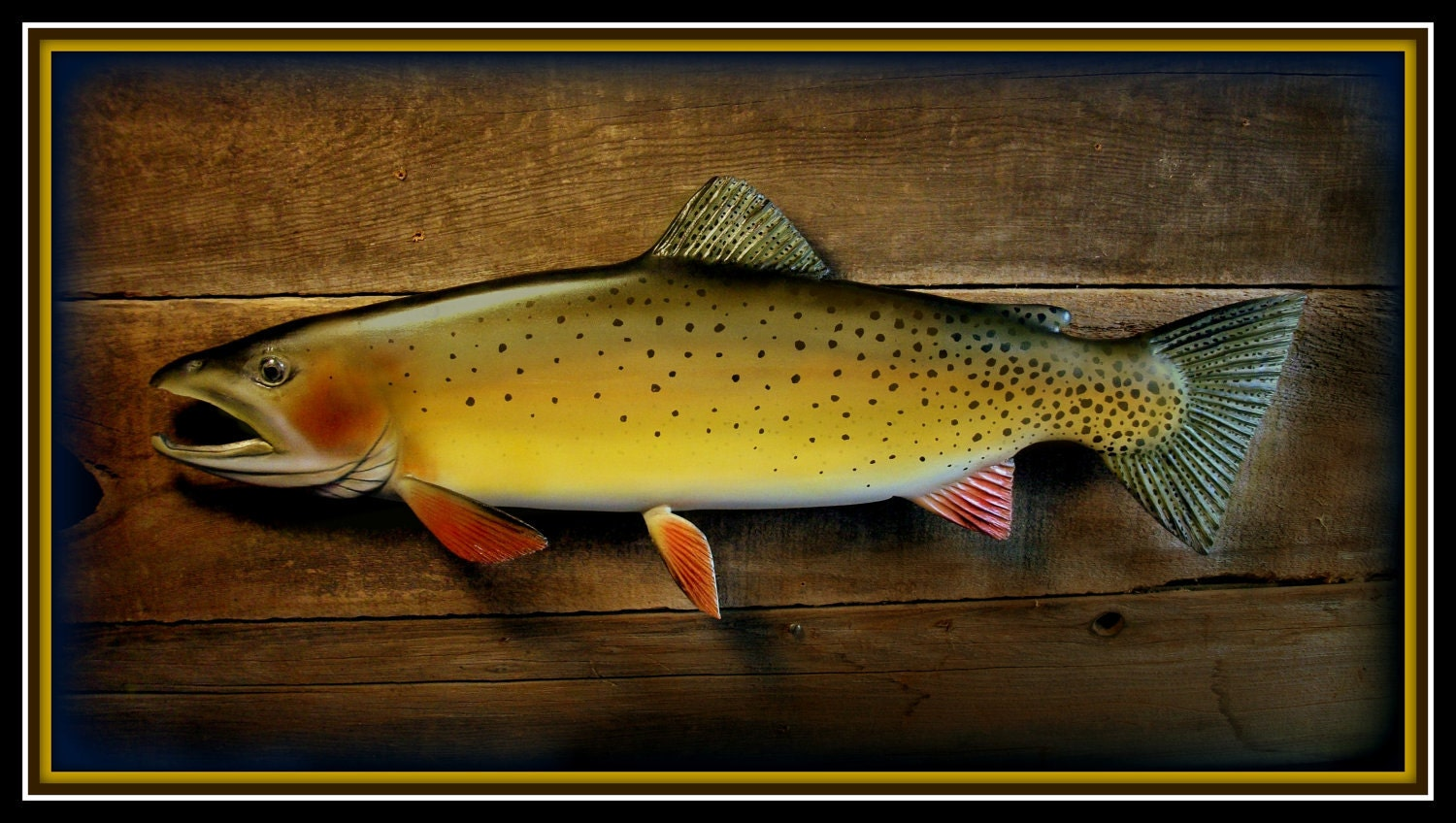 Cutthroat Trout Fish Wood Carving Fishing Art Fly By Woodnarts
