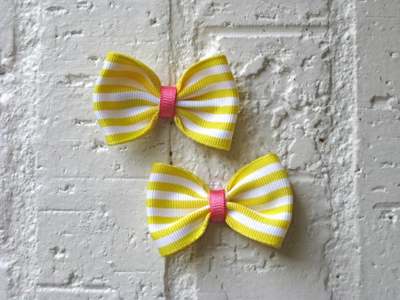 Mini Hair Bows - Pink Lemonade - Pink and Yellow Stripes