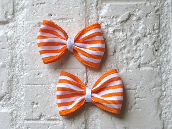 Mini Hair Bows - Orange Creamsicle