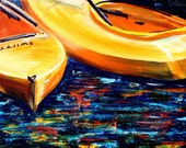 Yellow Boats - Original Acrylic Painting of Bright Yellow Kayaks bobbing in the Brilliant Blue Water Sea - RedBoatStudio