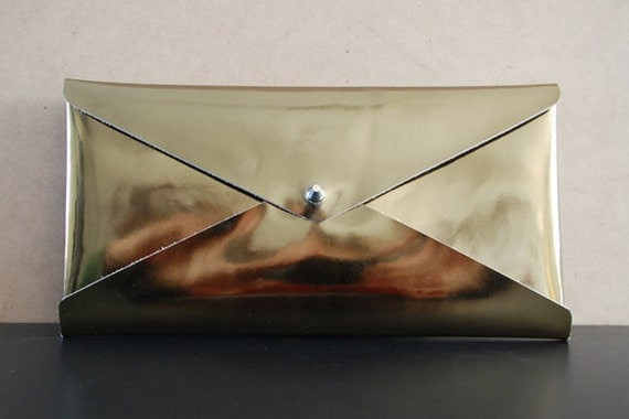 SALE: Large Leather Maya Envelope Clutch - Gloss Gold (S2002)