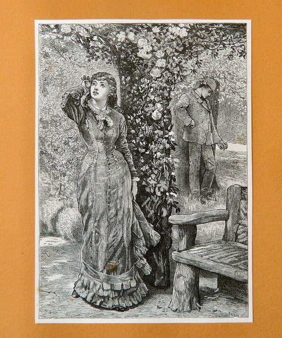 Romantic Victorian Vintage Print  -- 1880s Illustration Perfect for Framing