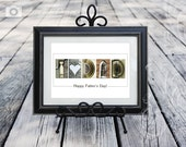 Father's Day Print in Color Alphabet Letter Photos I Heart Dad