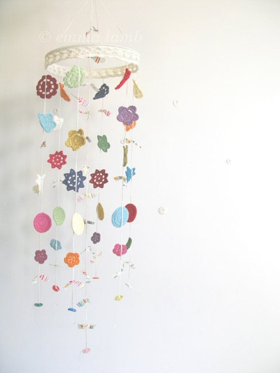 crochet flower mobile... NEW COLOURS ADDED, choose your own colours - Merry Mobile, large ...Customised item - by Emma Lamb