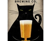 MADE to ORDER Fat Cat Brewing Company Black Cat Graphic Art Illustration 10x15 giclee print SIGNED - nativevermont