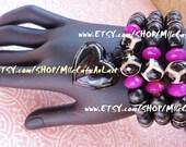 MARKDOWN Tibetan Agate, Faceted Fuschia, Black Crystal, Black Polished Wood Beaded Heart Charm Bracelet Set - KWANZAN