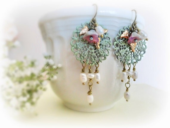 Jacaranda - Romantic long earrings Verdigris patina lace filigree Czech flowers pink mint green golden leaves freshwater pearls.