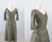 Vintage 1950s Cocktail Dress - Brocade Gold & Brown - Small - TwoMoxie