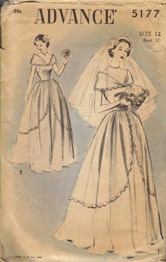 Vintage 1930s Wedding Gown Advance Sewing Pattern Bride Dress Shawl Collar Draped Skirt Overlay Fitted Bodice Bust 30