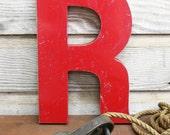 "Large Vintage Steel Red Letter ""R"" - AuroraMills"