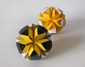 Origami paper balls in black and yellow by WaveofLight on etsy