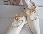 Victorian Edwardian Antique Silk Wedding Shoes Slipper Heels - KarmaRox