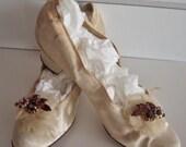 Edwardian Victorian Antique White Silk Wedding Shoes Slippers Heels - KarmaRox