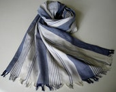 blue/white striped long cotton scarf with fringe for women free shipping - betsybdesign