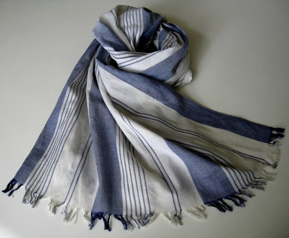 blue/white striped long cotton scarf with fringe for women