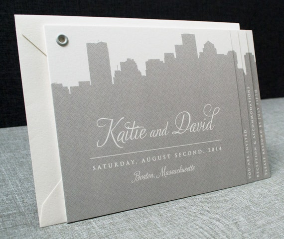 Kaitie Boston Skyline Wedding Invitation Booklet (Sample)
