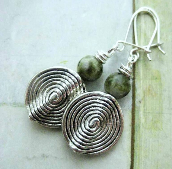 Irish Celtic Earrings. Rare Connemara Marble and Silver. Mists of Time