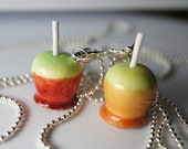 Candy Apple Best Friend Necklaces, MIniature Food Jewelry, Friendship Necklaces
