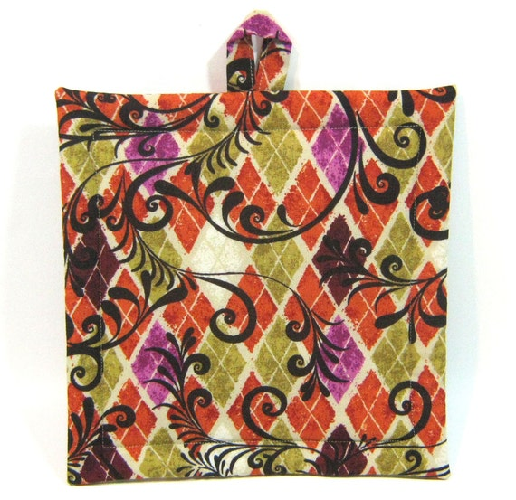 Harlequin Pattern Potholder-  Extra Large- Oversized Hot Pad in Rust, Olive, and Cream with Swirls