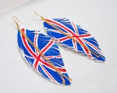UK FLAG. British Flag Leather Feather Earrings. White Handpainted. Free Shipping Worldwide