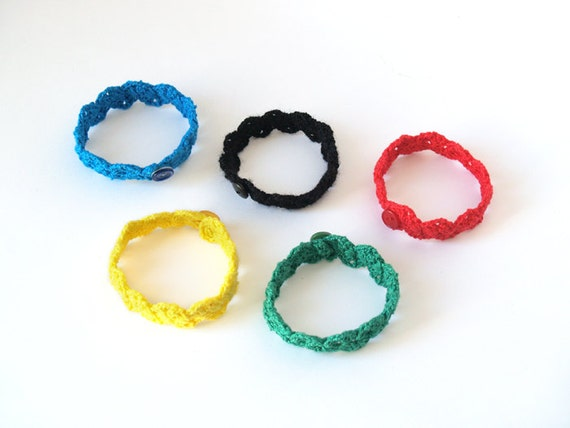 Olympic games bracelets - multicolor crochet bracelets representing the olympic rings